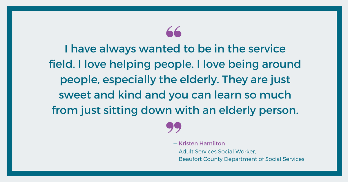 I love helping people - Kristen Hamilton, Beaufort County DSS