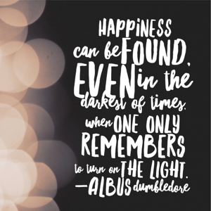 Happiness can be found even in the most difficult of times when one only remembers to turn on the light.